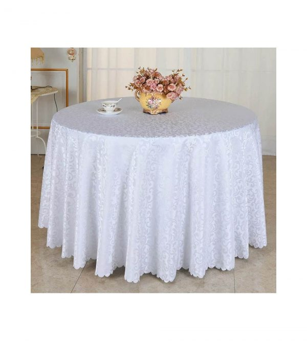 1.8m Round Table Cloth With Pattern – White (Tableware sold separately)