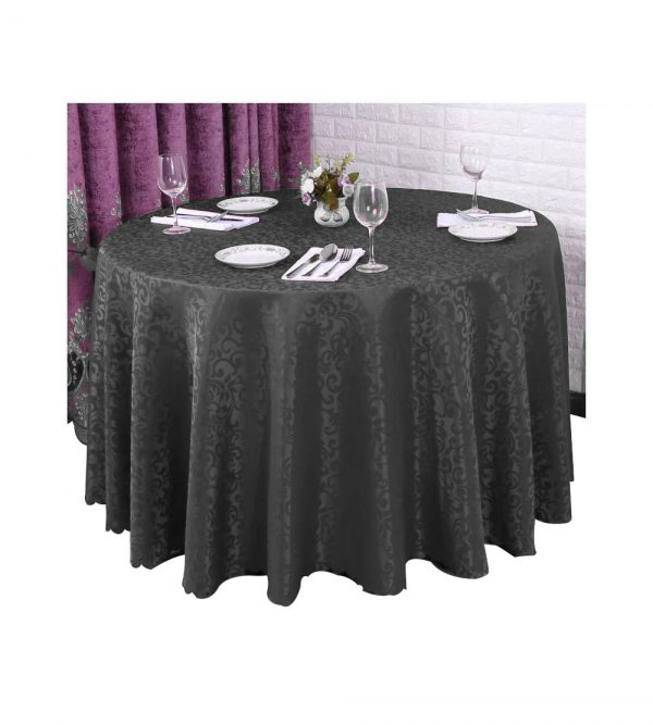 3M Jacquard Round Table Cloth With Pattern – Black (Tableware sold separately)