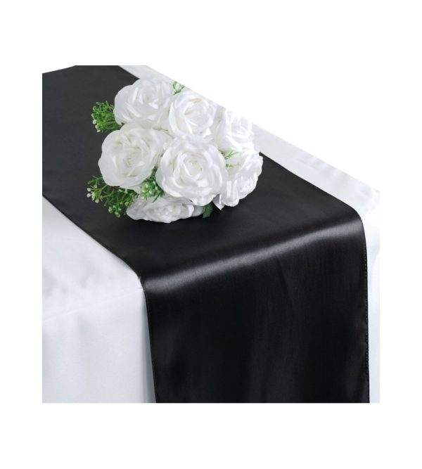 2.80 x 40cm Table Runner  – Black (Flowers and tablecloth not Included)