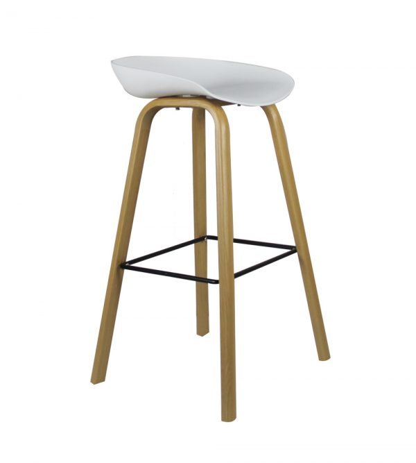 Hunter Counter Bar Stool With Metal Legs – White seat
