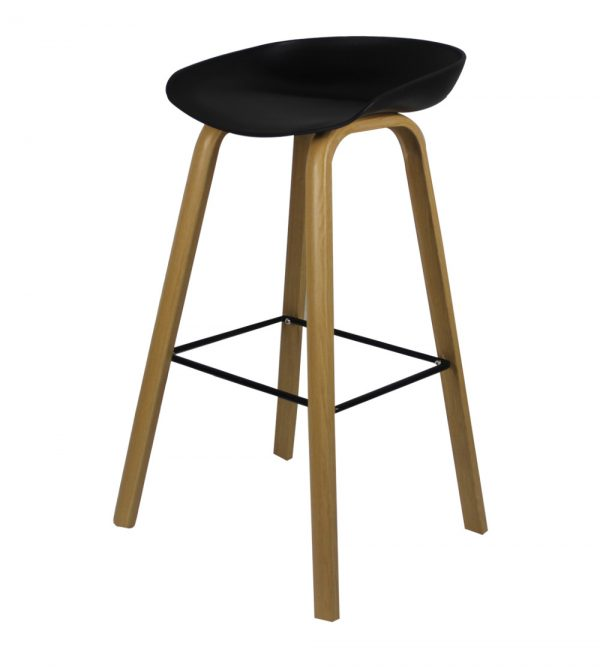 Hunter Counter Bar Stool With Metal Legs – Black seat