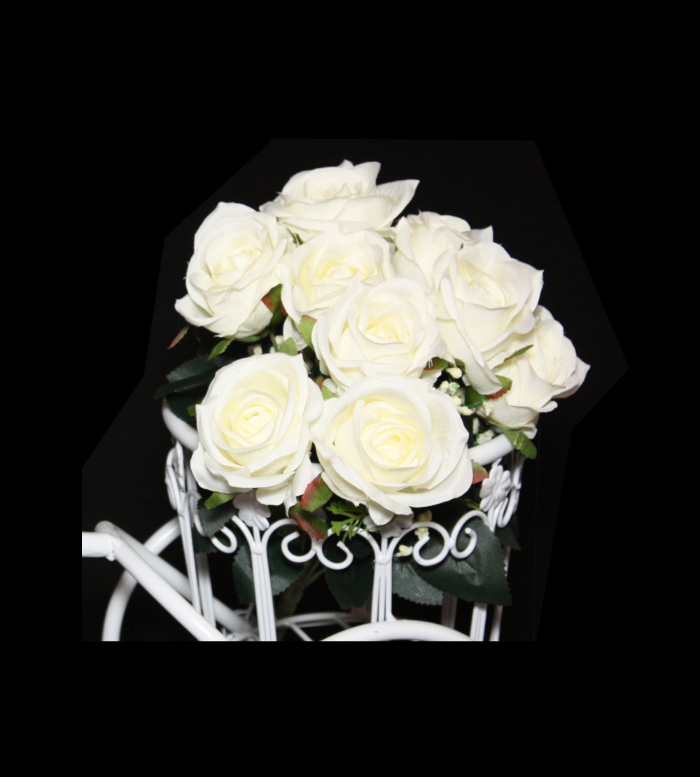 9 Head Artificial Rose – White