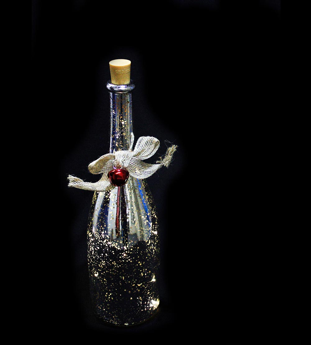 Glass Bottle With Lights – Multicoloured