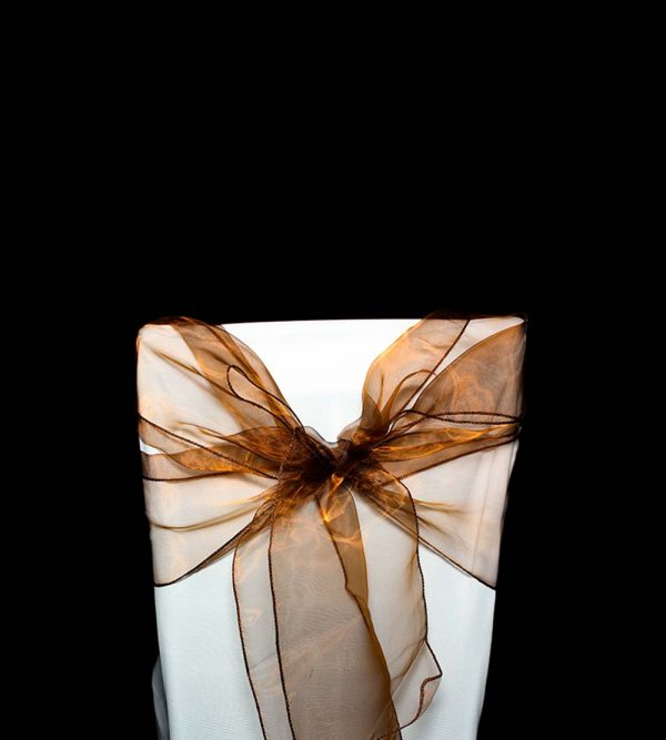 2.75m x 18cm Organza – Coffee (Chair cover sold separately)
