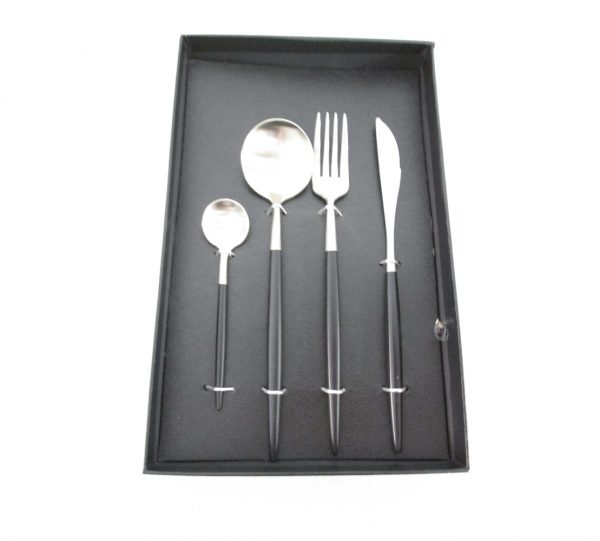 Two Tone Cutlery Set – Black & Silver