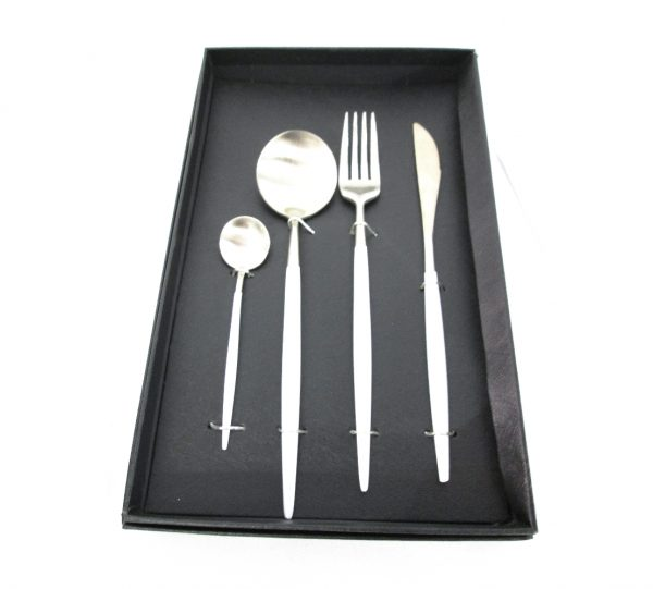Two Tone Cutlery Set – White & Silver