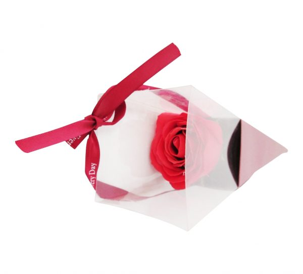 1pc Artificial Rose With Plastic Cover