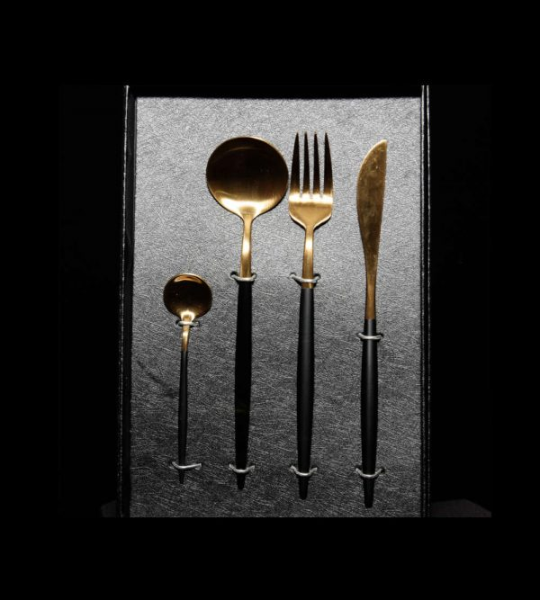 Two Tone Cutlery Set – Black & Gold