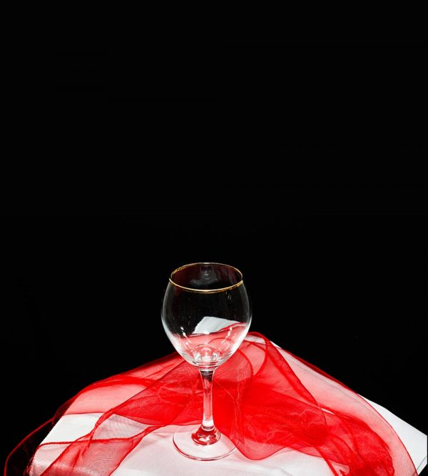 7.2cm x 20cm Red Wine Glass With Gold Rim