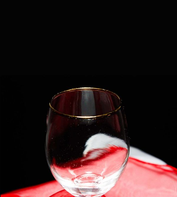 6.5cm x 18cm White Wine Glass With Gold Rim