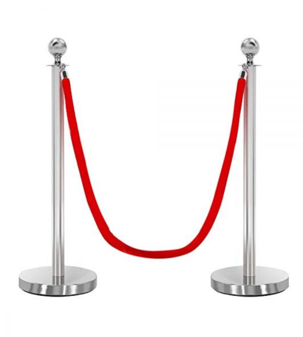 Round Top Stanchion – Silver (Twisted ropes sold separately)