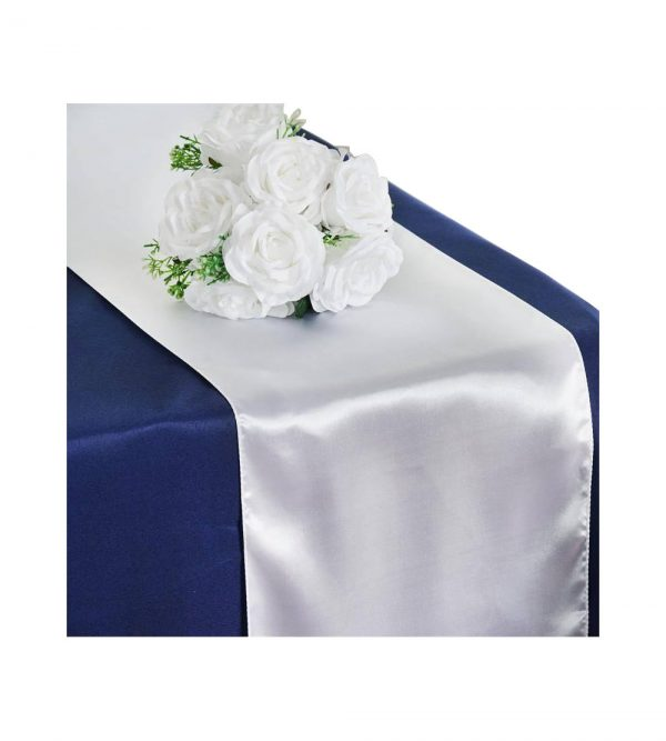 2.80m x 40cm Table Runner – White (Flowers and tablecloth not Included)