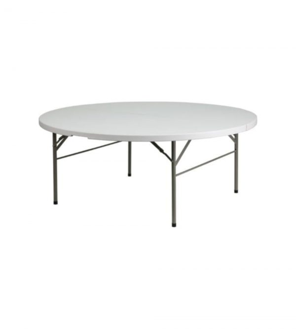 1.6m Diameter Round Plastic Round Folding Table – White