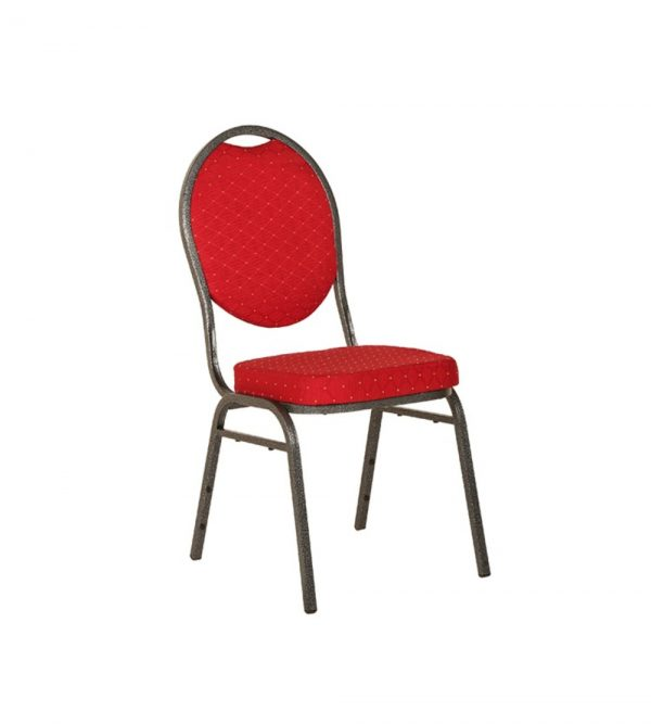 Silver Frame Banquet Chair – Red
