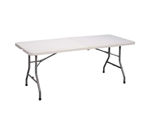 1.8m Plastic Top Rectangular Folding Table With Saftey Lock – White