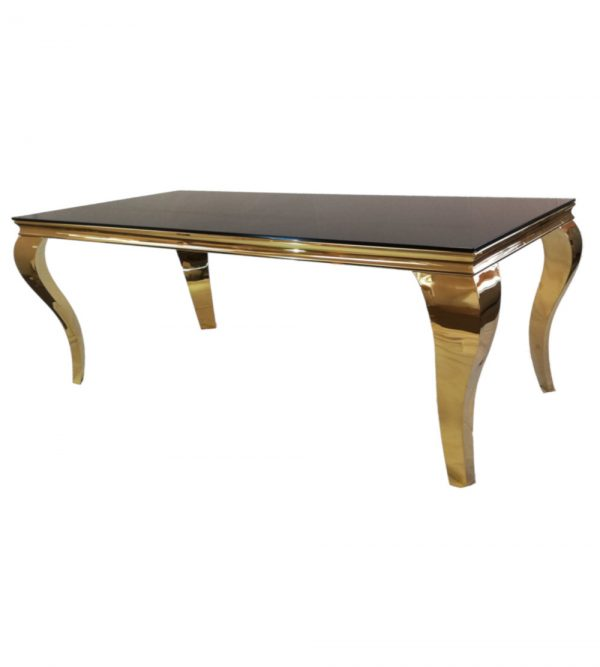 2.2 Meter Steel Gold Table With Black Reflective Glass Top