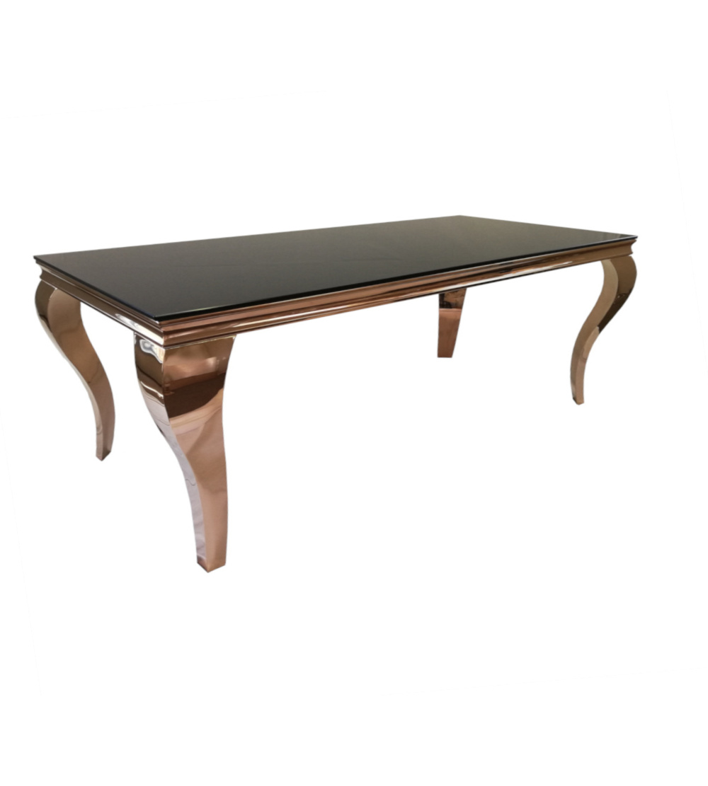 2.2 Meter Steel Rose Gold Table With Black Reflective Glass Top