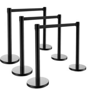 Queue Barrier-Black Pole with 3M Retractable Black Belt