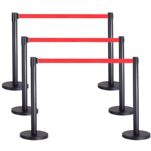 Queue Barrier-Black Pole with 3M Retractable Red Belt