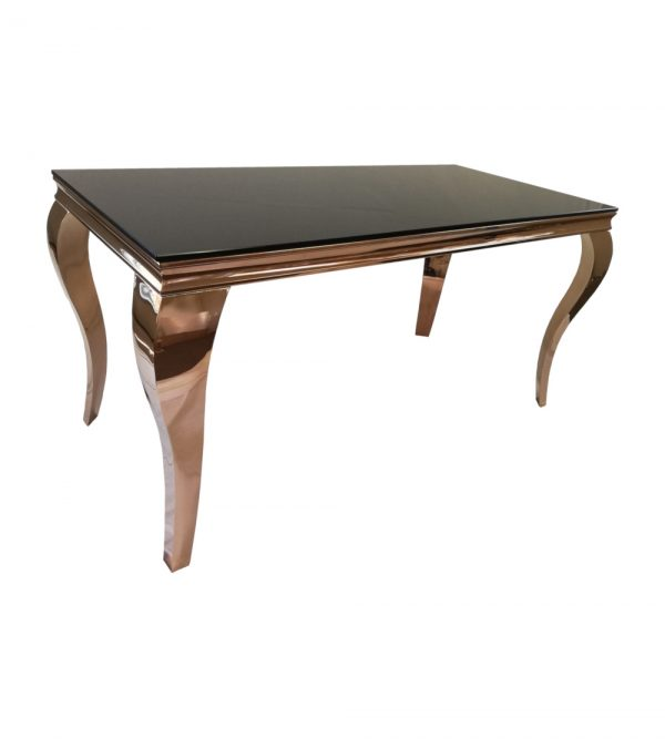 1.5 Meter Steel Rose Gold Table With Black Reflective Glass Top