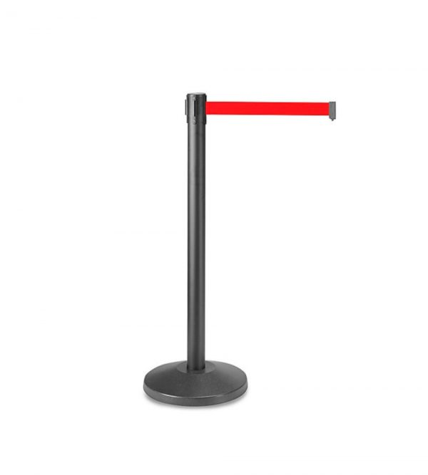 Black Queue Barrier with 3M Retractable Red Belt