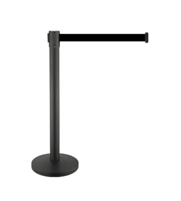 Black Queue Barrier With 3M Retractable Black Belt