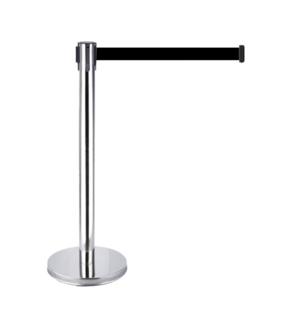 Silver Queue Barrier with 3M Retractable Black Belt