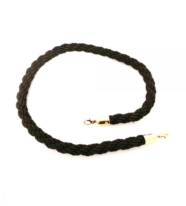 Braided Stanchion Black Rope – Gold Clasps