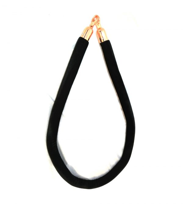Velvet Stanchion Black Rope – Rosegold Clasps