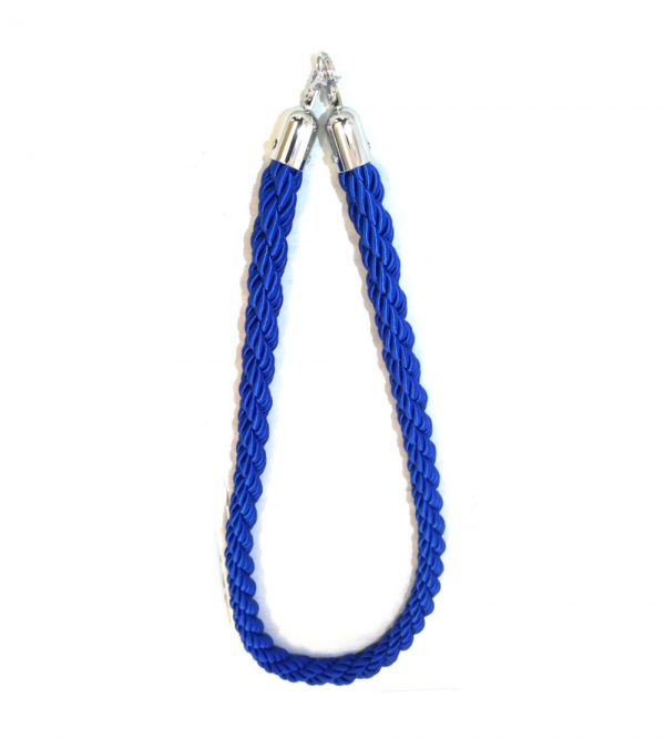 Braided Stanchion Blue Rope – Silver Clasps