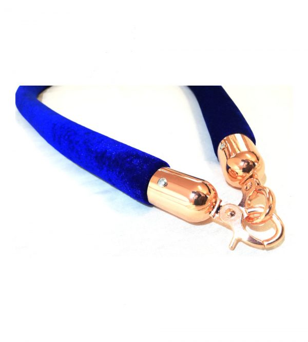 Velvet Stanchion Blue Rope – Rosegold Clasps