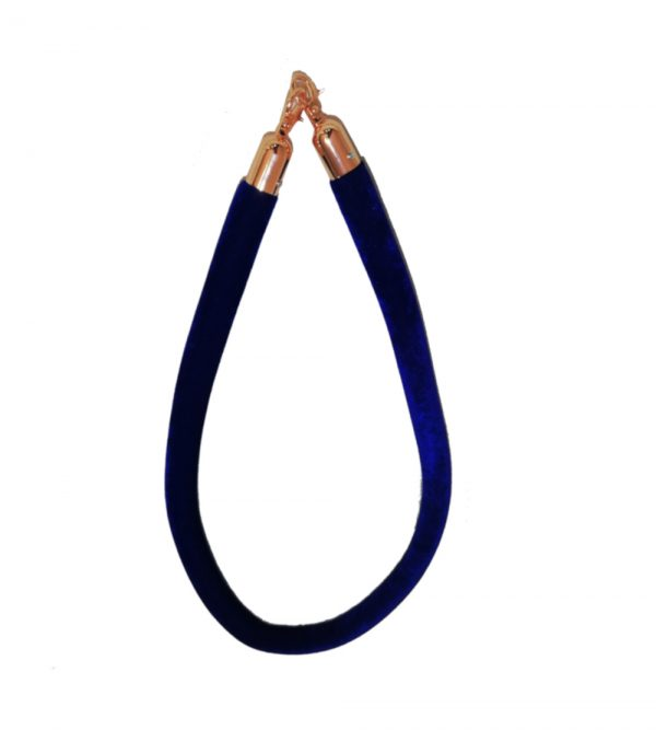 Rose Gold Velvet Stanchion Rope – Blue (Stanchion poles sold separately)
