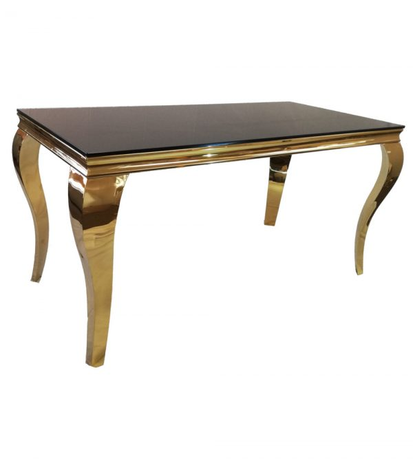 1.5 Meter Steel Gold Table With Black Reflective Glass Top