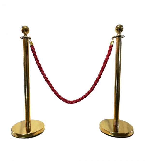 Round Top Stanchion – Gold ( Ropes Sold Separately)