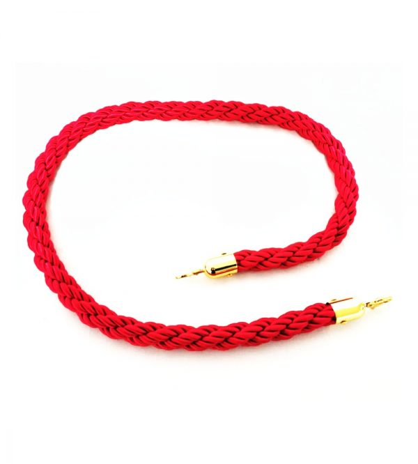 Braided Stanchion Red Rope with Gold Clasps