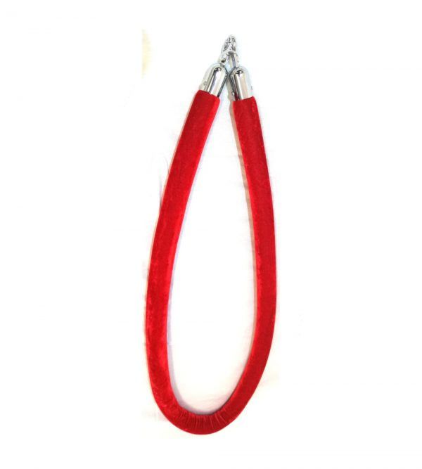 Velvet Stanchion Rope with Silver Clip – Red (Stanchion poles sold separately)