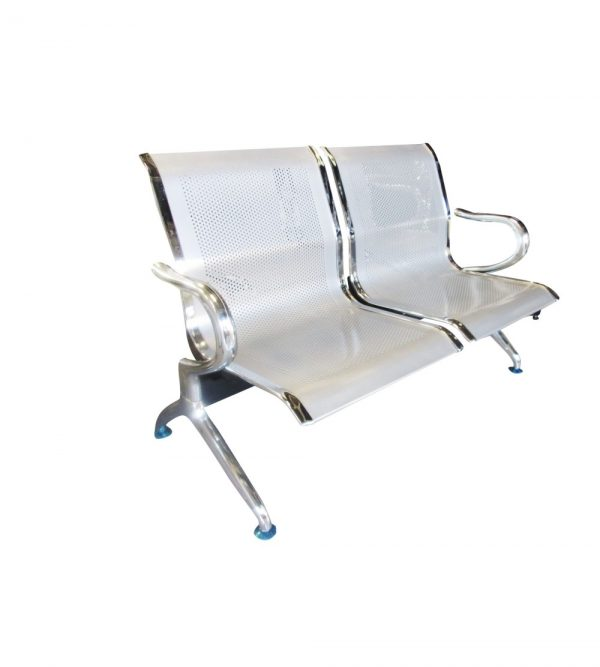 2 Seater Airport Chair/Hospital Chair/Waiting Area Chair – Flash Silver Colour