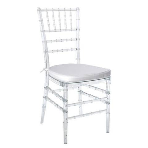 Adult Resin Tiffany Chair Clear With Cushion