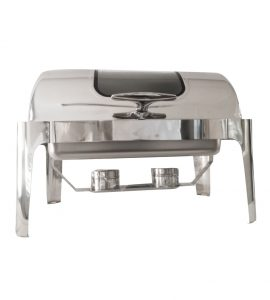 Stainless Steel Rectangular Roll Top Chafing Dish -With Window 9L Silver
