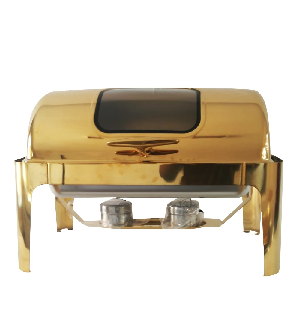 Stainless  Steel Rectangular Roll Top Chafing Dish in Gold – With Window 9L