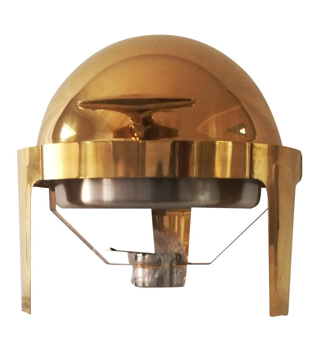 Stainless Steel Round Roll Top Chafing Dish in Gold -No Window 9L