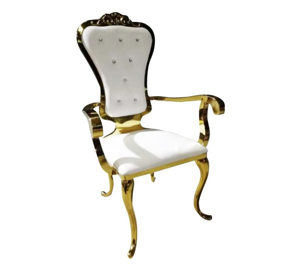STAINLESS STEEL QUEEN / THRONE CHAIRS WITH ARMS GOLD