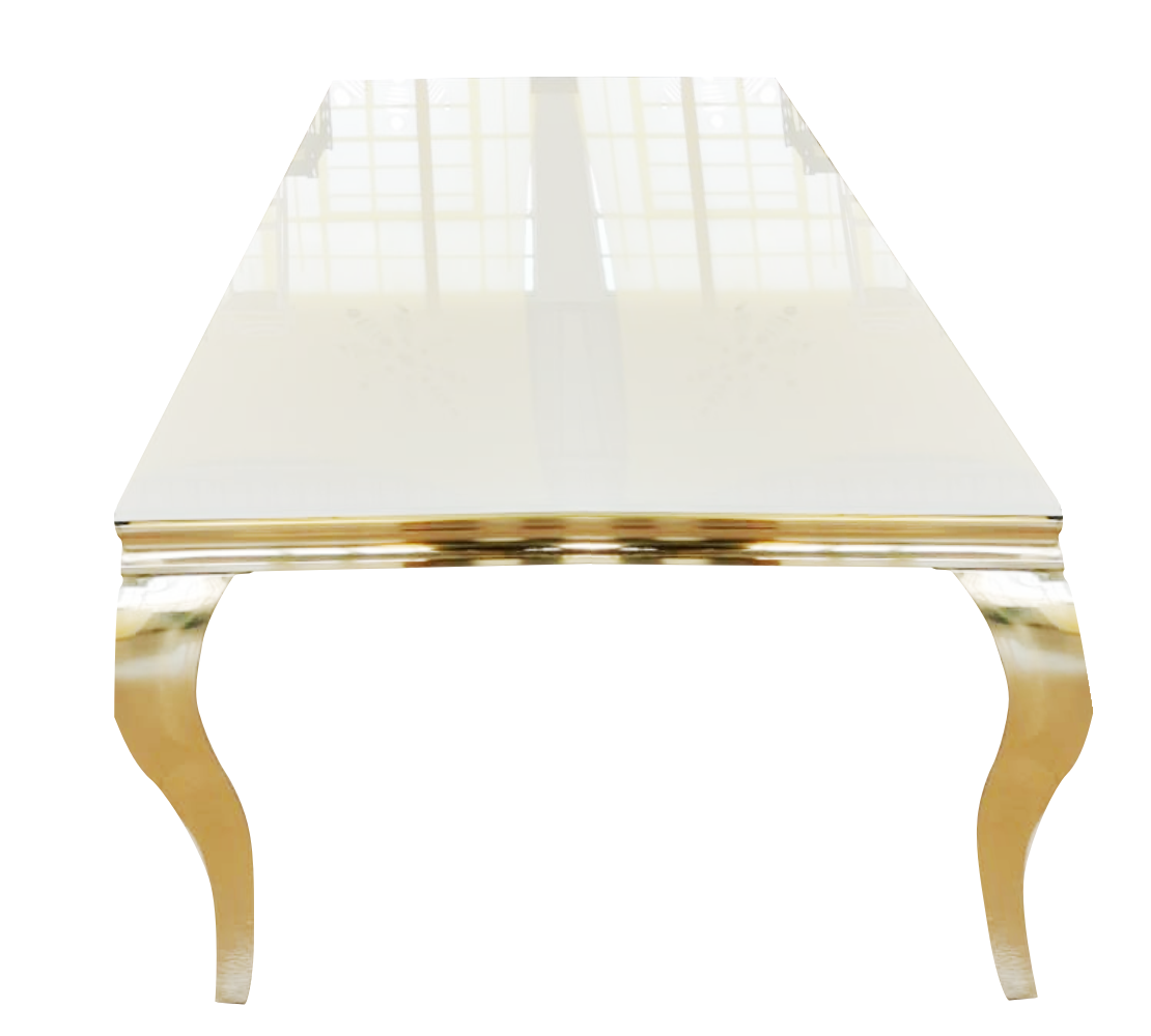 2. 2m x 1m Stainless Steel Gold Table With White Reflective Top