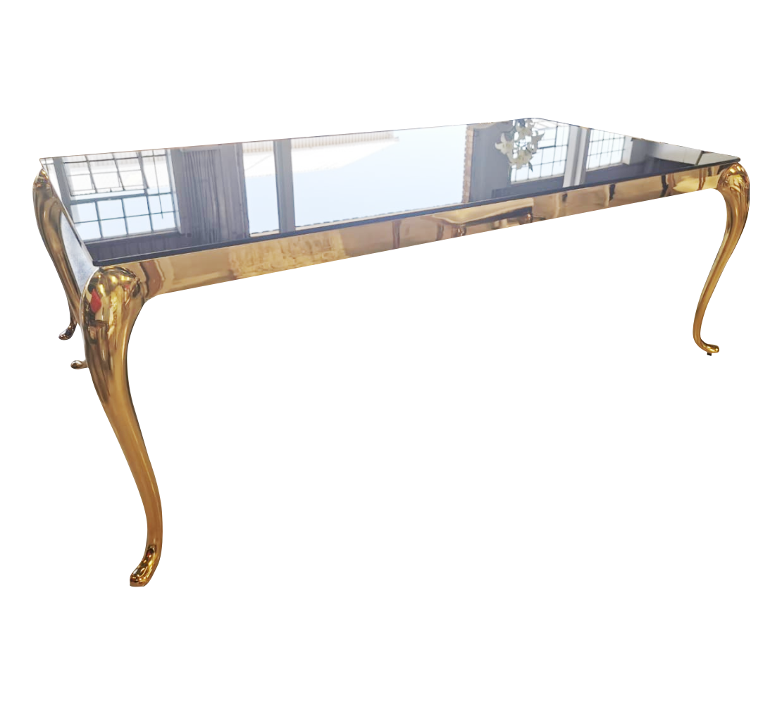 2m x 1 m Stainless Steel Gold Table With Black Reflective Top