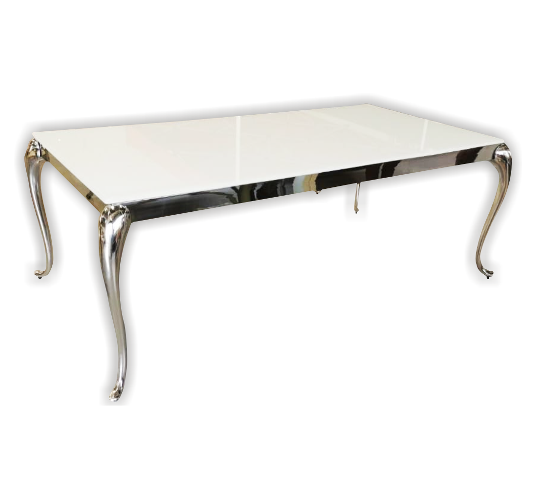 2m x 1 m Stainless Steel Silver Table With White Reflective Top