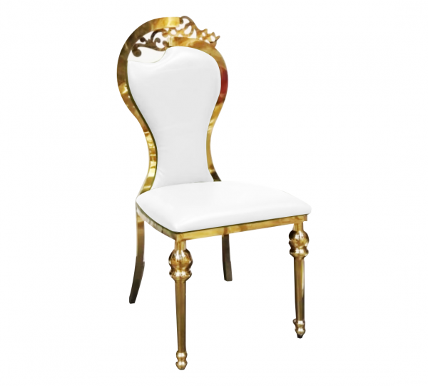 His & Her Stainless Steel Gold Padded Chair With Pattern