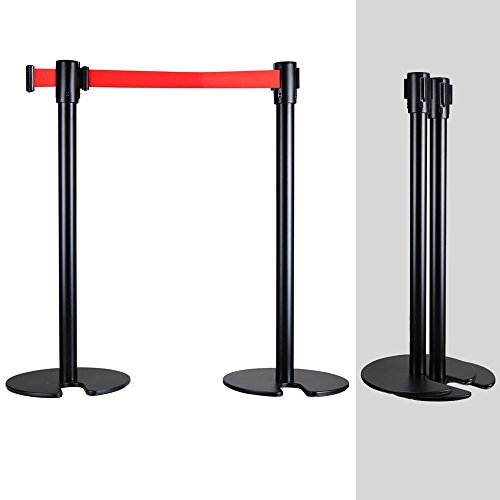 Queue Barrier- Black With 3m black Retracable Belt(U Shape Base)