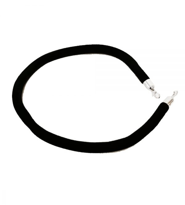 Velvet Stanchion Black Rope-Silver Clasp