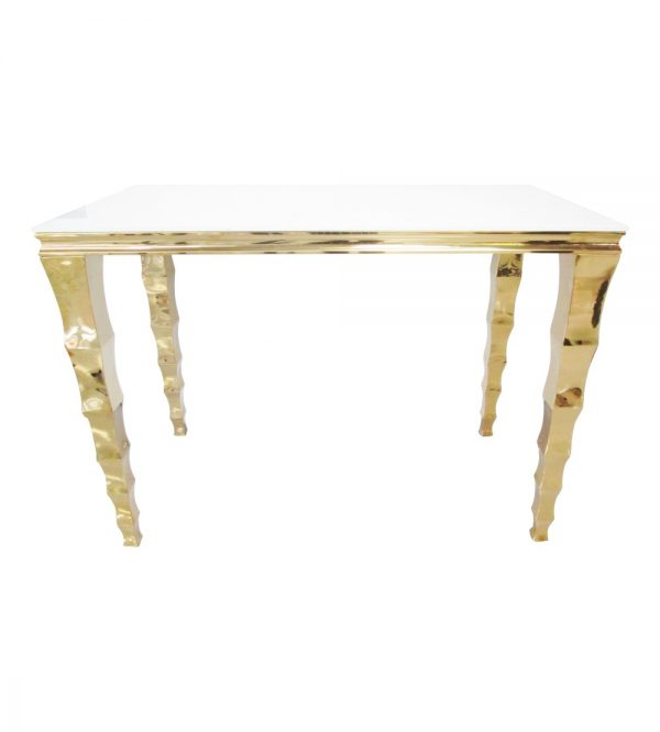Gold Bar Table With White Reflective Glass