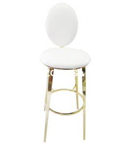 Gold Bar White Padded Chair